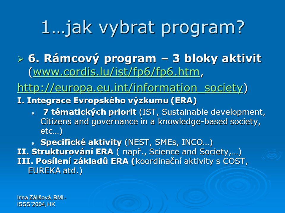 Irina Zálišová, BMI - ISSS´2004, HK 1…jak vybrat program?  6. Rámcový program – 3 bloky aktivit (www.cordis.lu/ist/fp6/fp6.htm, www.cordis.lu/ist/fp6