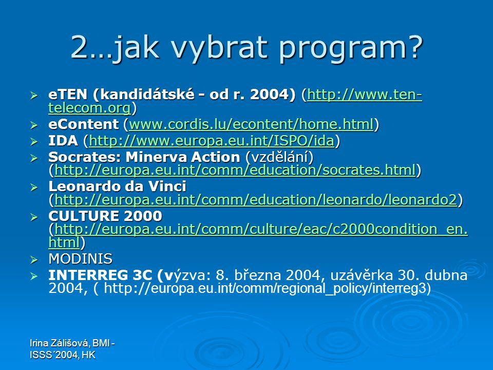 Irina Zálišová, BMI - ISSS´2004, HK 2…jak vybrat program?  eTEN (kandidátské - od r. 2004) (http://www.ten- telecom.org) http://www.ten- telecom.orgh