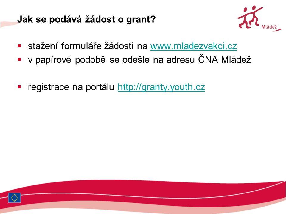 Jak se podává žádost o grant?  stažení formuláře žádosti na www.mladezvakci.czwww.mladezvakci.cz  v papírové podobě se odešle na adresu ČNA Mládež 