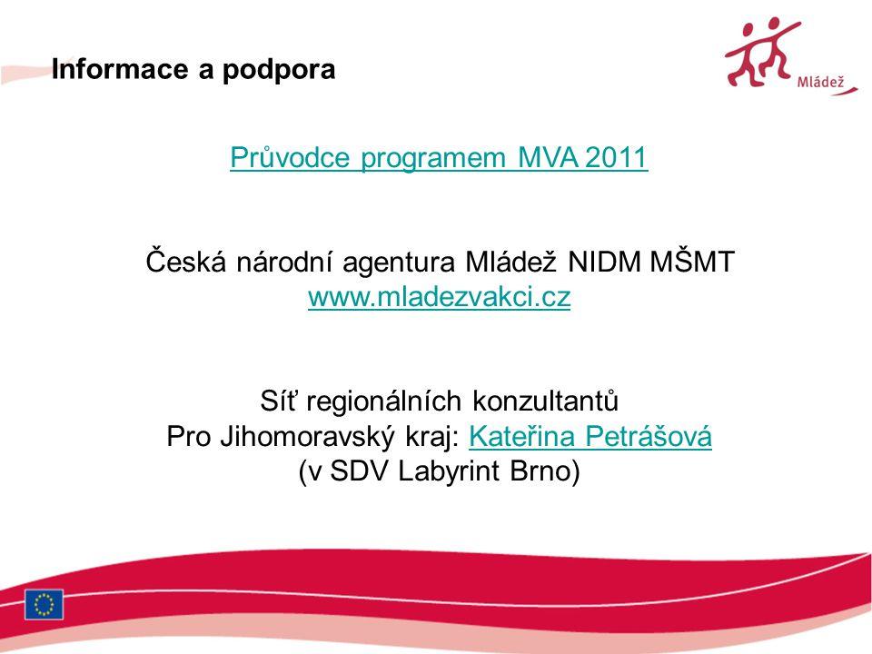 Průvodce programem MVA 2011 Česká národní agentura Mládež NIDM MŠMT www.mladezvakci.cz Síť regionálních konzultantů Pro Jihomoravský kraj: Kateřina Pe