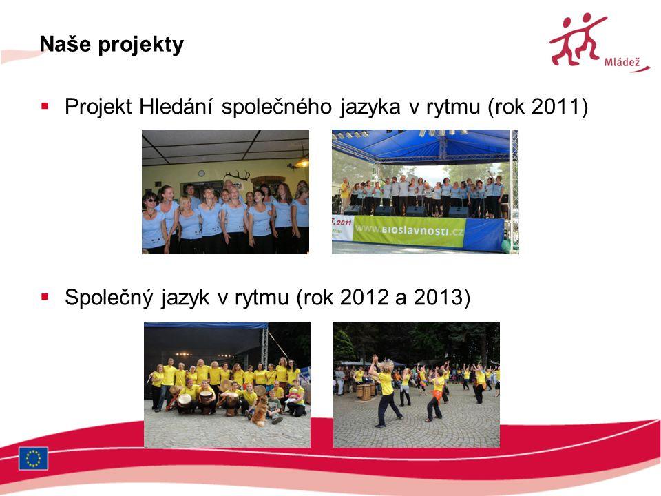 Naše projekty  Projekt Hledání společného jazyka v rytmu (rok 2011)  Společný jazyk v rytmu (rok 2012 a 2013)