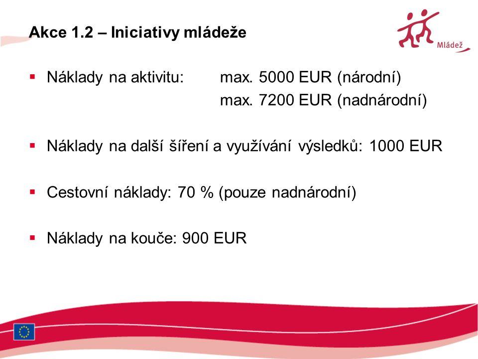 Akce 1.2 – Iniciativy mládeže  Náklady na aktivitu: max. 5000 EUR (národní) max. 7200 EUR (nadnárodní)  Náklady na další šíření a využívání výsledků