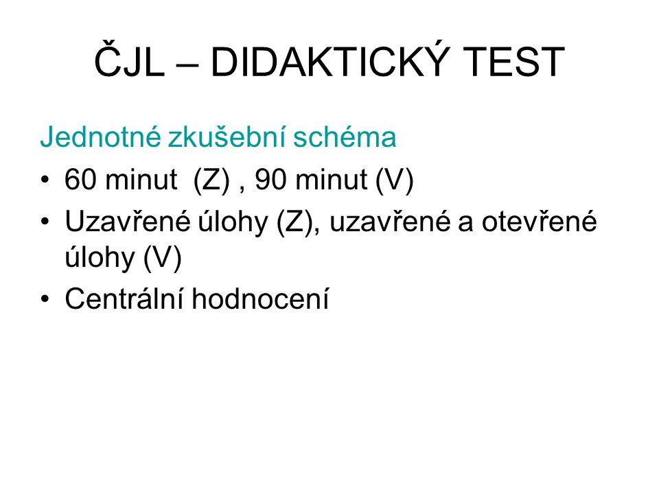 ČJL – DIDAKTICKÝ TEST Jednotné zkušební schéma 60 minut (Z), 90 minut (V) Uzavřené úlohy (Z), uzavřené a otevřené úlohy (V) Centrální hodnocení