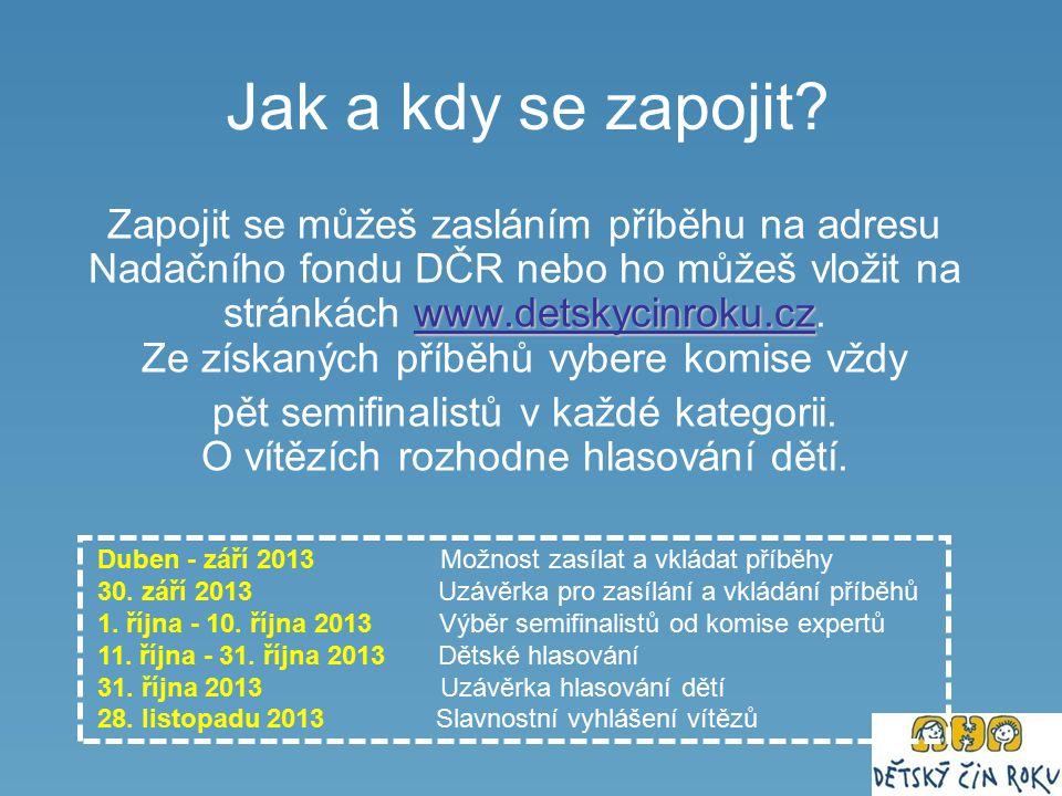 Jak a kdy se zapojit? www.detskycinroku.cz www.detskycinroku.cz Zapojit se můžeš zasláním příběhu na adresu Nadačního fondu DČR nebo ho můžeš vložit n