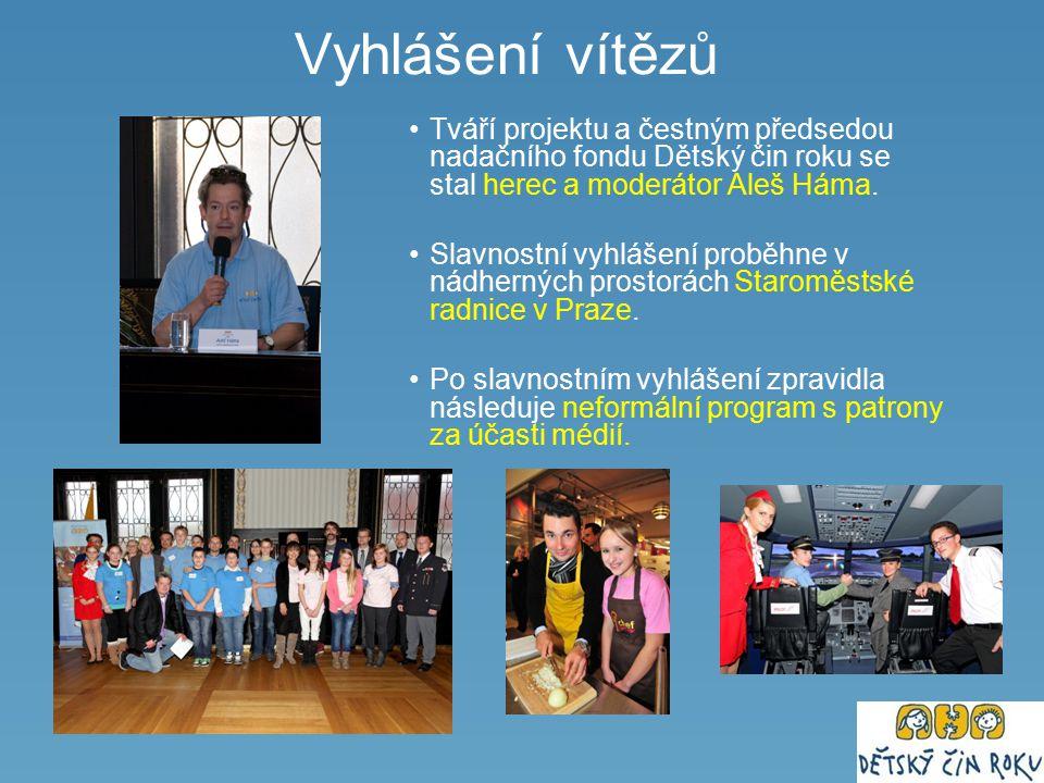 Vyhlášení vítězů Tváří projektu a čestným předsedou nadačního fondu Dětský čin roku se stal herec a moderátor Aleš Háma. Slavnostní vyhlášení proběhne