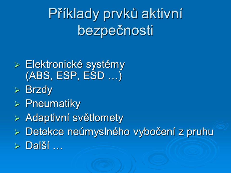 Příklady prvků aktivní bezpečnosti  Elektronické systémy (ABS, ESP, ESD …)  Brzdy  Pneumatiky  Adaptivní světlomety  Detekce neúmyslného vybočení z pruhu  Další …