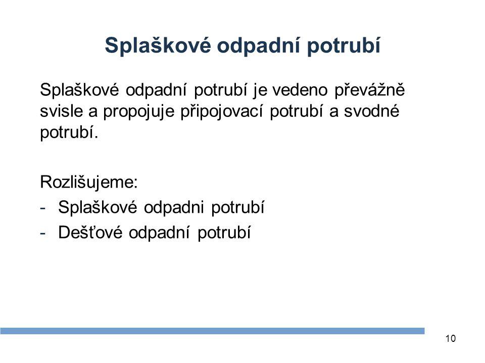 10 Splaškové odpadní potrubí Splaškové odpadní potrubí je vedeno převážně svisle a propojuje připojovací potrubí a svodné potrubí. Rozlišujeme: -Splaš
