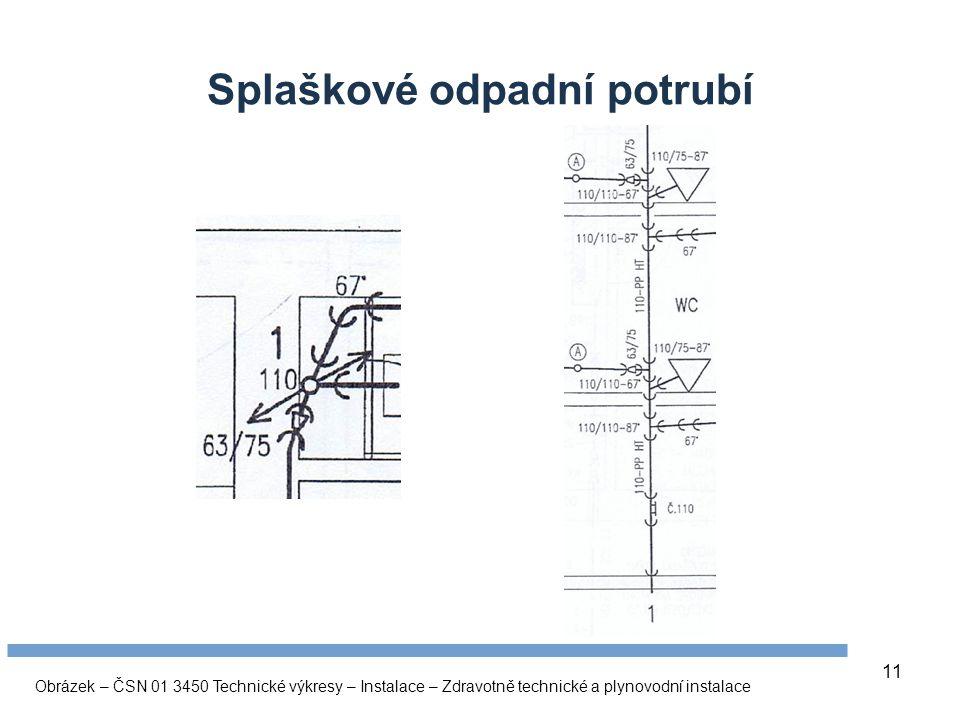 11 Splaškové odpadní potrubí Obrázek – ČSN 01 3450 Technické výkresy – Instalace – Zdravotně technické a plynovodní instalace
