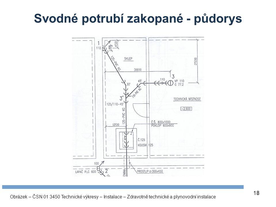 18 Svodné potrubí zakopané - půdorys Obrázek – ČSN 01 3450 Technické výkresy – Instalace – Zdravotně technické a plynovodní instalace