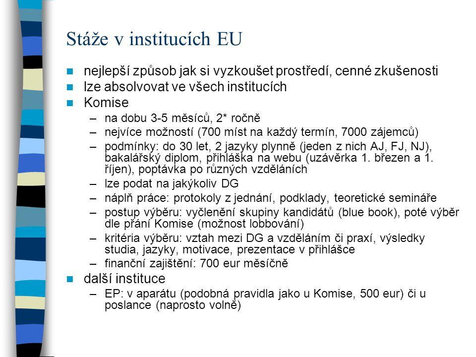 Práce v institucích EU dvě kategorie zaměstnanců- dočasný či trvalý pracovní poměr –prvotně se obsazují pozice zevnitř –výběr většinou do pozic AD5, AST1 podmínky: občanství, jazyky, vojenská služba, fyzický stav způsob výběru: konkurz (concours) –zajišťuje EPSO (European Personnel Selection Office) –veřejné vyhlášení –tříkolové písemné a ústní zkoušky (vícero míst- rizika z toho plynoucí) –první kolo (všeobecné znalosti), druhé kolo ústní, zařazení na bluebook (opět je to na uchazečovi, platí jeden rok, udržovat svůj CV aktuální) –po stažení z bluebooku interview, až pak oficiální nabídka práce (9 měsíců zkušební poměr) –vše poměrně dlouho trvá –pomocný personál (auxiliary start): nástupní můstek pro stálou práci v institucích (roční praxe) problémy konkurzů –je v tom trochu zmatek –rozdílné kulturní a vzdělávací prostředí –objevila se implicitní diskriminace žen