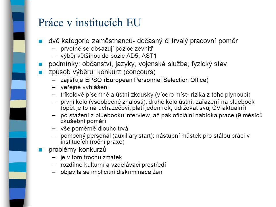 Práce v institucích EU sekondmenty –dočasně přiděleni zaměstnavatelem v ČR k práci v institucích EU –výměna zkušeností mezi veřejnými správami, knowhow –6 měsíců až čtyři roky –zaměstnancem domovské instituce, stejný plat (jen příspěvek Komise) –iniciativa většinou ze strany EK, jde to přes Stálé zastoupení práce pro administrativu členského státu –Stálé zastoupení, předsednictví –lobbing