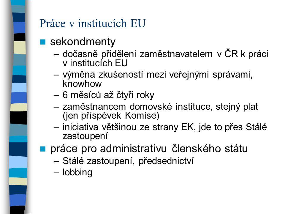 Práce v institucích EU sekondmenty –dočasně přiděleni zaměstnavatelem v ČR k práci v institucích EU –výměna zkušeností mezi veřejnými správami, knowho
