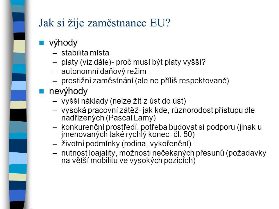 Jak si žije zaměstnanec EU? výhody –stabilita místa –platy (viz dále)- proč musí být platy vyšší? –autonomní daňový režim –prestižní zaměstnání (ale n