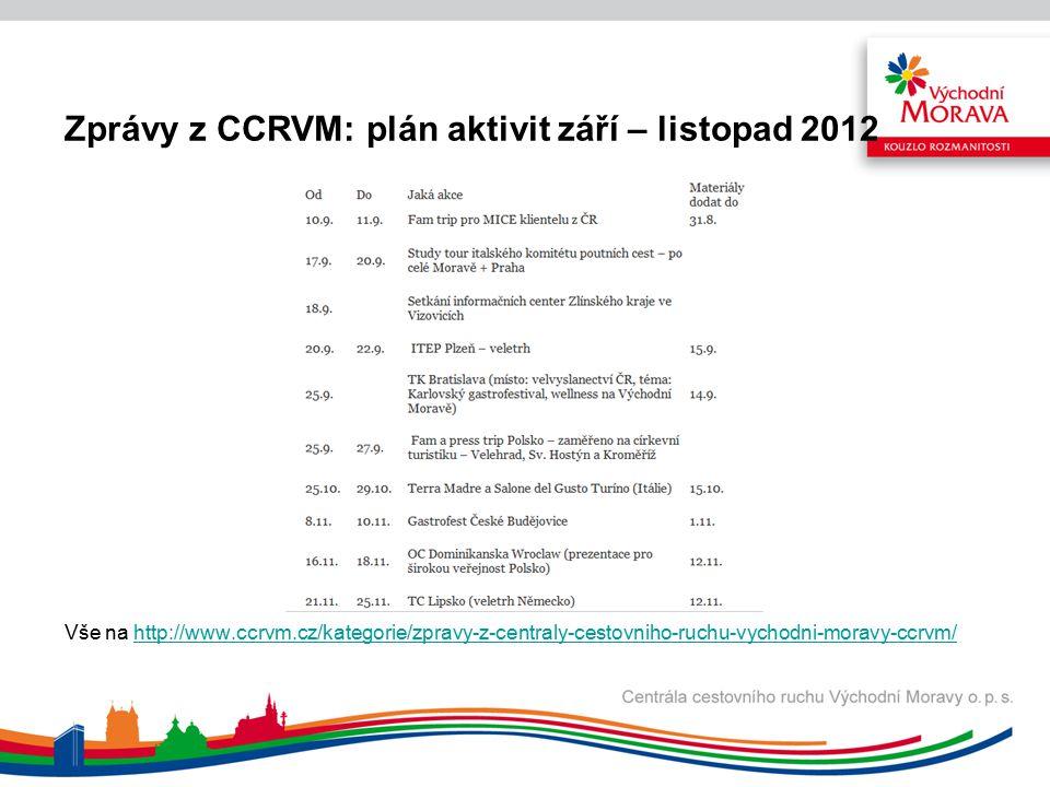 Zprávy z CCRVM: plán aktivit září – listopad 2012 Vše na http://www.ccrvm.cz/kategorie/zpravy-z-centraly-cestovniho-ruchu-vychodni-moravy-ccrvm/http://www.ccrvm.cz/kategorie/zpravy-z-centraly-cestovniho-ruchu-vychodni-moravy-ccrvm/