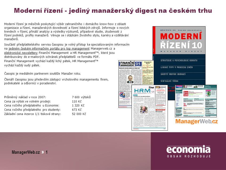 ManagerWeb.cz » 1 Moderní řízení - jediný manažerský digest na českém trhu Moderní řízení je měsíčník poskytující výběr zahraničního i domácího know-how z oblasti organizace a řízení, manažerských dovedností a řízení lidských zdrojů.