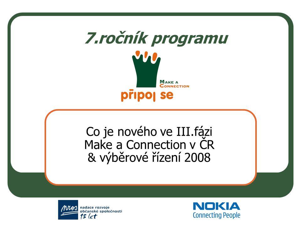 7.ročník programu Co je nového ve III.fázi Make a Connection v ČR & výběrové řízení 2008