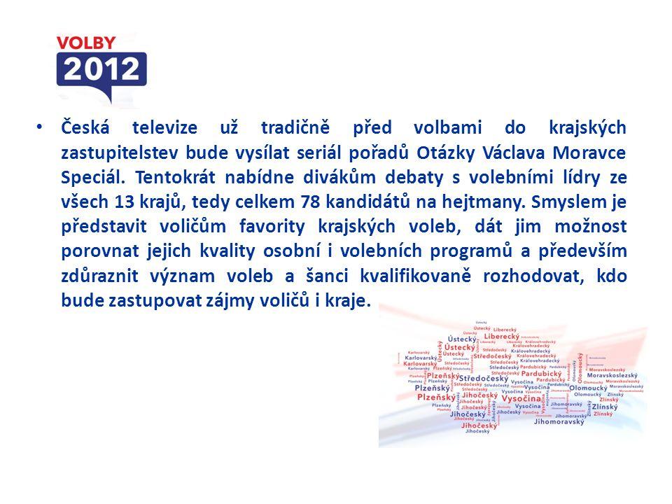 Česká televize už tradičně před volbami do krajských zastupitelstev bude vysílat seriál pořadů Otázky Václava Moravce Speciál.