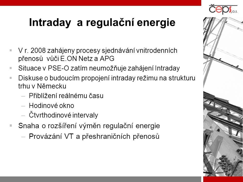 Intraday a regulační energie  V r. 2008 zahájeny procesy sjednávání vnitrodenních přenosů vůči E.ON Netz a APG  Situace v PSE-O zatím neumožňuje zah