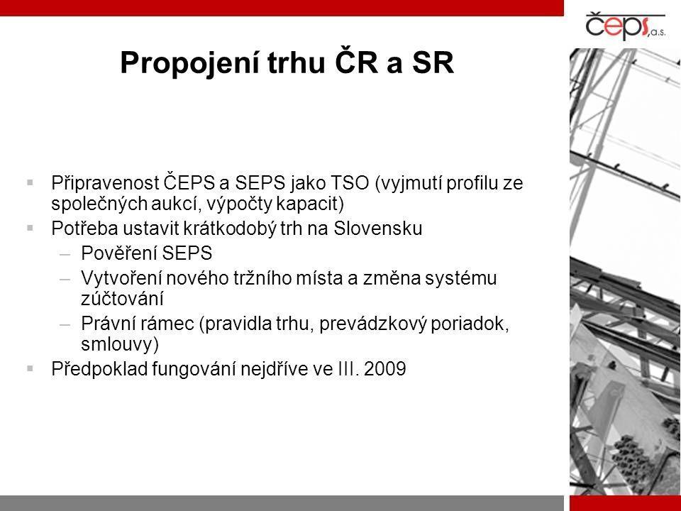 Propojení trhu ČR a SR  Připravenost ČEPS a SEPS jako TSO (vyjmutí profilu ze společných aukcí, výpočty kapacit)  Potřeba ustavit krátkodobý trh na