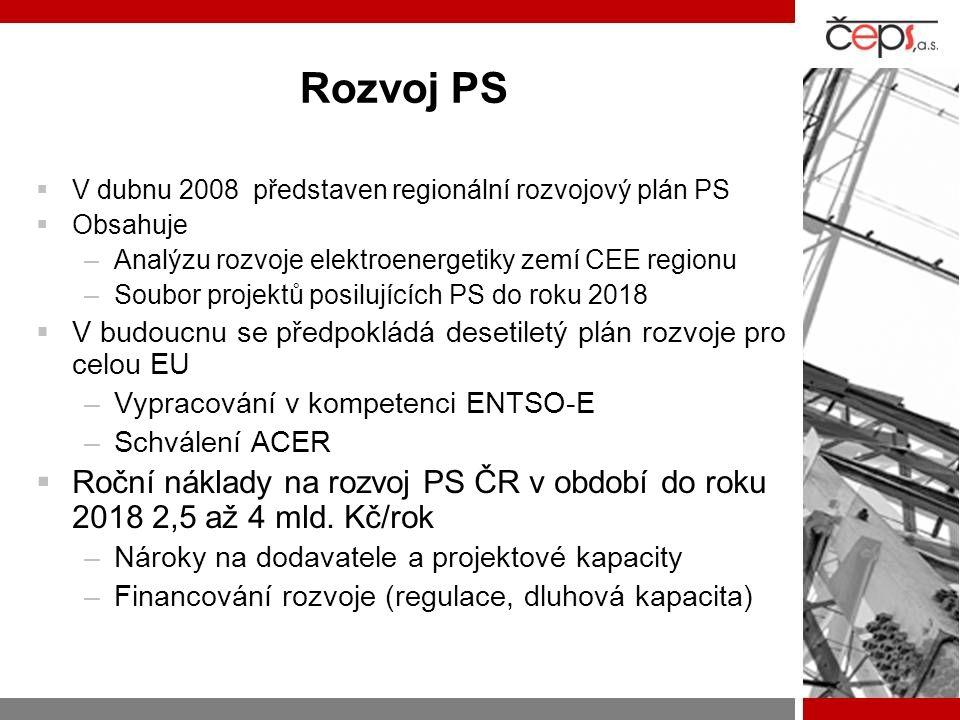 Rozvoj PS  V dubnu 2008 představen regionální rozvojový plán PS  Obsahuje –Analýzu rozvoje elektroenergetiky zemí CEE regionu –Soubor projektů posil