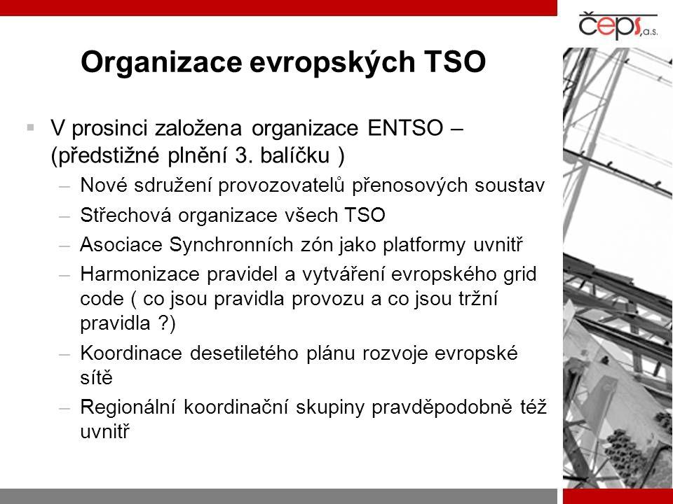 Organizace evropských TSO  V prosinci založena organizace ENTSO – (předstižné plnění 3. balíčku ) –Nové sdružení provozovatelů přenosových soustav –S