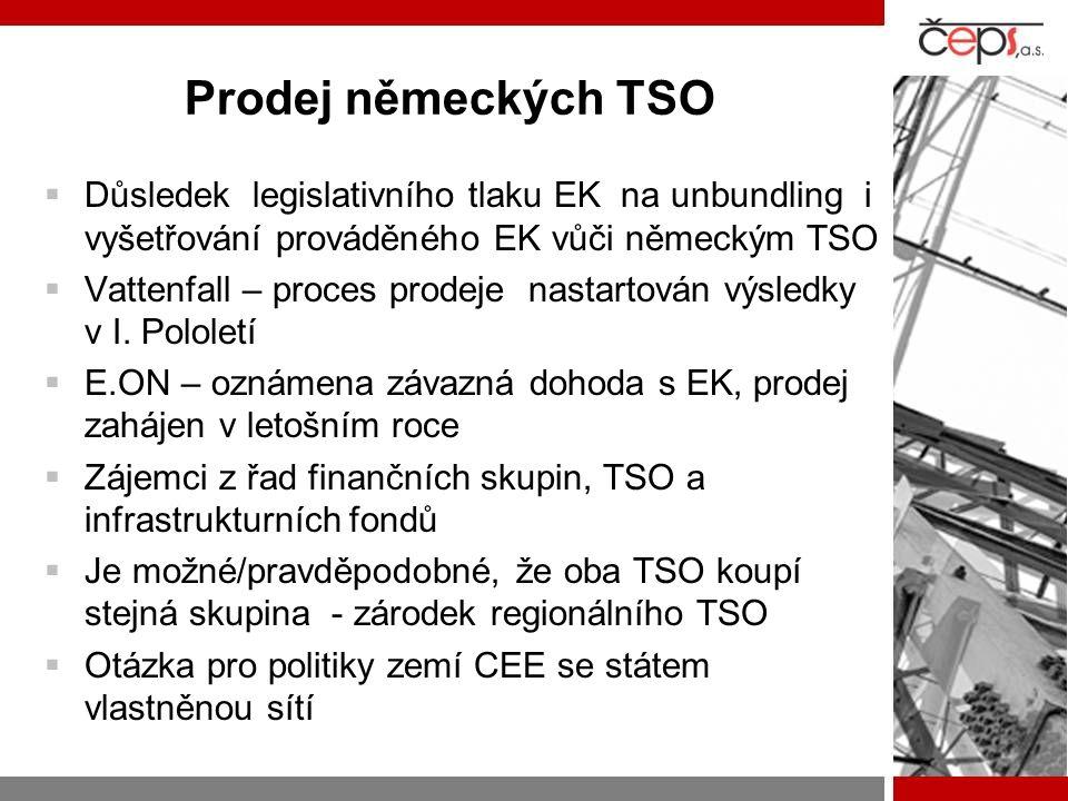Prodej německých TSO  Důsledek legislativního tlaku EK na unbundling i vyšetřování prováděného EK vůči německým TSO  Vattenfall – proces prodeje nas