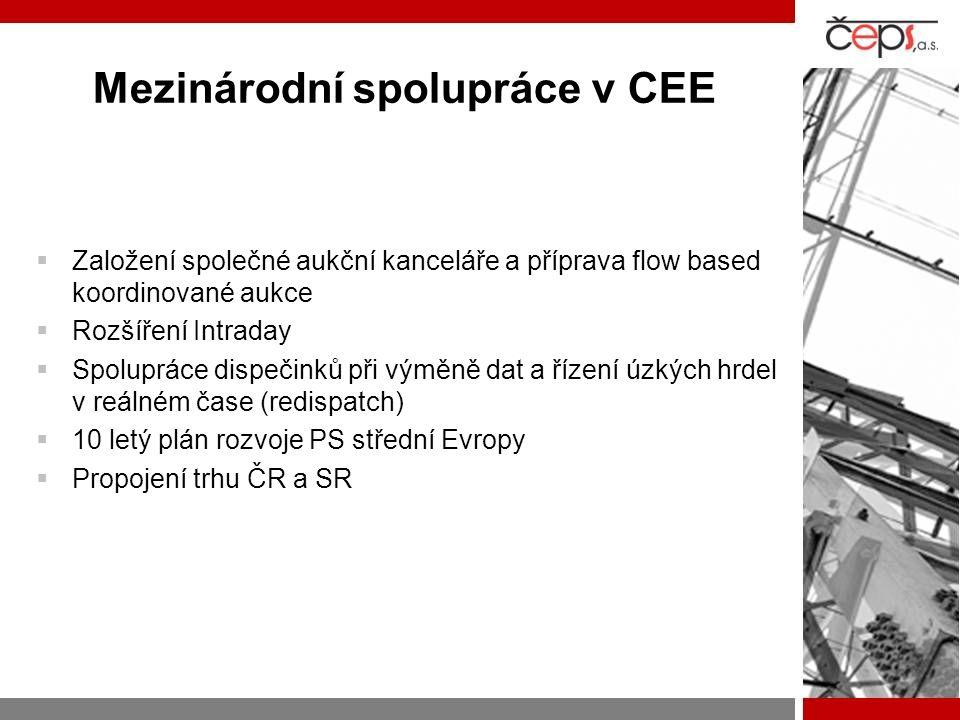 Mezinárodní spolupráce v CEE  Založení společné aukční kanceláře a příprava flow based koordinované aukce  Rozšíření Intraday  Spolupráce dispečink