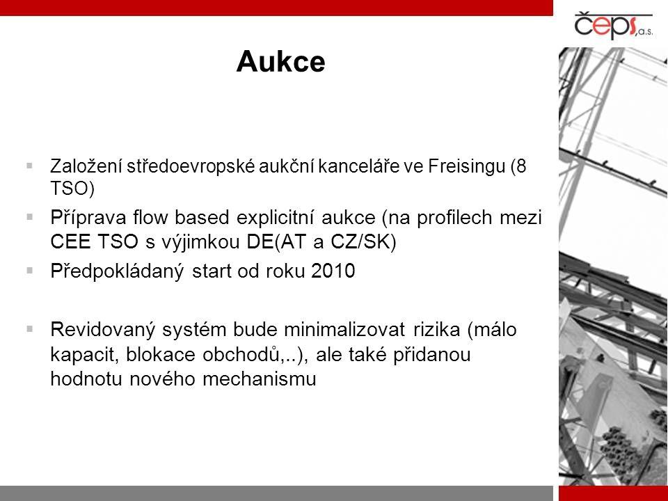 Aukce  Založení středoevropské aukční kanceláře ve Freisingu (8 TSO)  Příprava flow based explicitní aukce (na profilech mezi CEE TSO s výjimkou DE(