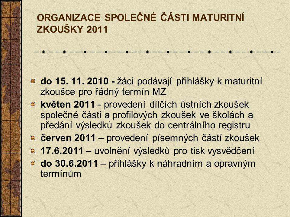 ORGANIZACE SPOLEČNÉ ČÁSTI MATURITNÍ ZKOUŠKY 2011 do 15. 11. 2010 - žáci podávají přihlášky k maturitní zkoušce pro řádný termín MZ květen 2011 - prove
