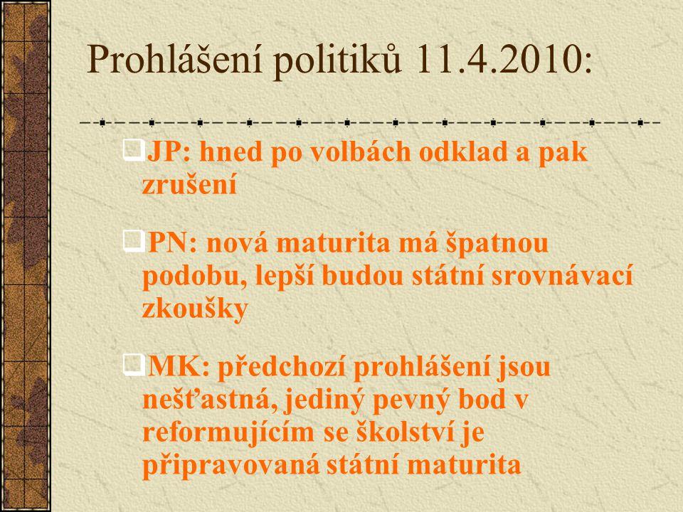 Prohlášení politiků 11.4.2010:  JP: hned po volbách odklad a pak zrušení  PN: nová maturita má špatnou podobu, lepší budou státní srovnávací zkoušky  MK: předchozí prohlášení jsou nešťastná, jediný pevný bod v reformujícím se školství je připravovaná státní maturita