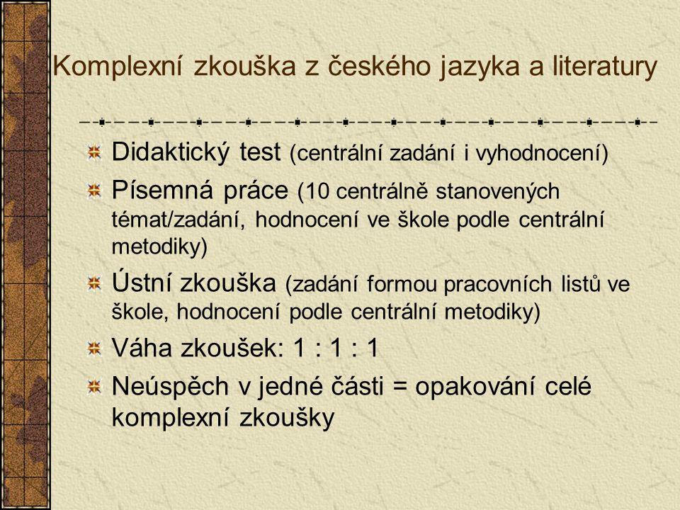Komplexní zkouška z českého jazyka a literatury Didaktický test (centrální zadání i vyhodnocení) Písemná práce (10 centrálně stanovených témat/zadání, hodnocení ve škole podle centrální metodiky) Ústní zkouška (zadání formou pracovních listů ve škole, hodnocení podle centrální metodiky) Váha zkoušek: 1 : 1 : 1 Neúspěch v jedné části = opakování celé komplexní zkoušky