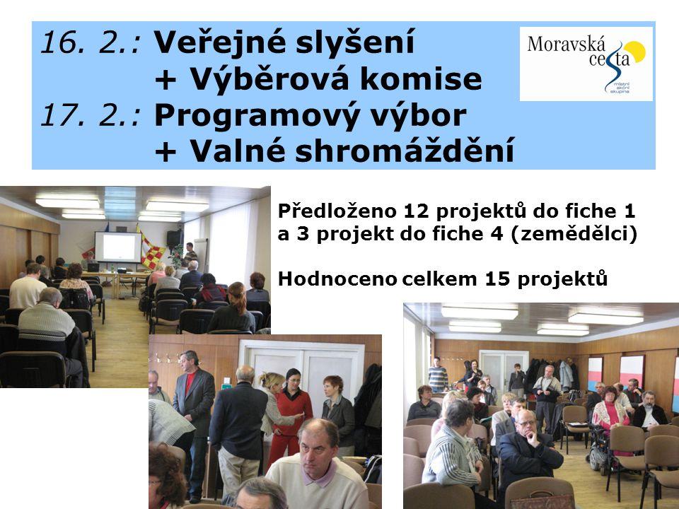 16. 2.: Veřejné slyšení + Výběrová komise 17.