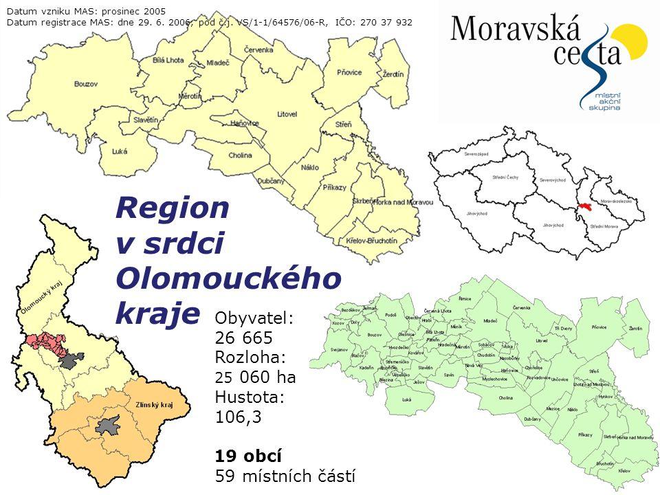 11.4.2015Snímek 3 Obyvatel: 26 665 Rozloha: 25 060 ha Hustota: 106,3 19 obcí 59 místních částí Region v srdci Olomouckého kraje Datum vzniku MAS: prosinec 2005 Datum registrace MAS: dne 29.