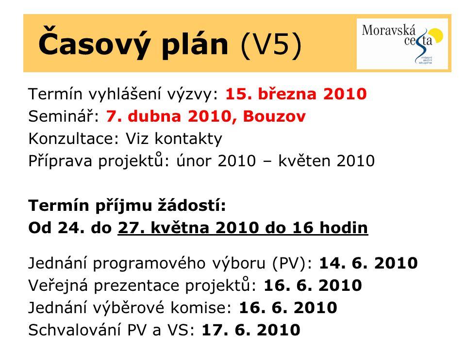 Časový plán (V5) Termín vyhlášení výzvy: 15. března 2010 Seminář: 7.
