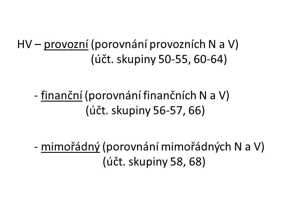 HV – provozní (porovnání provozních N a V) (účt.