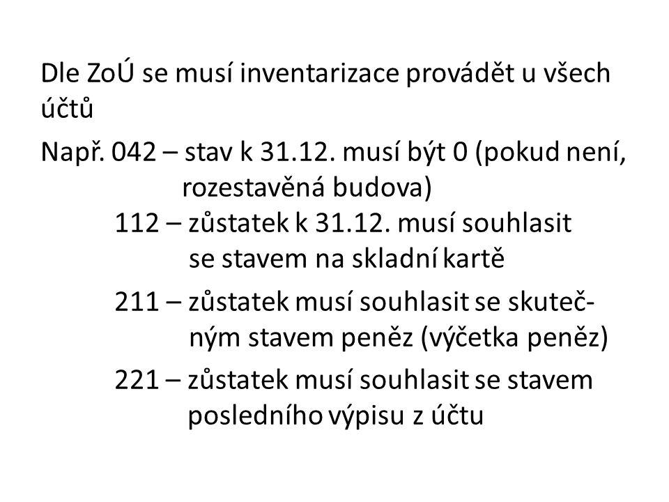 Dle ZoÚ se musí inventarizace provádět u všech účtů Např.