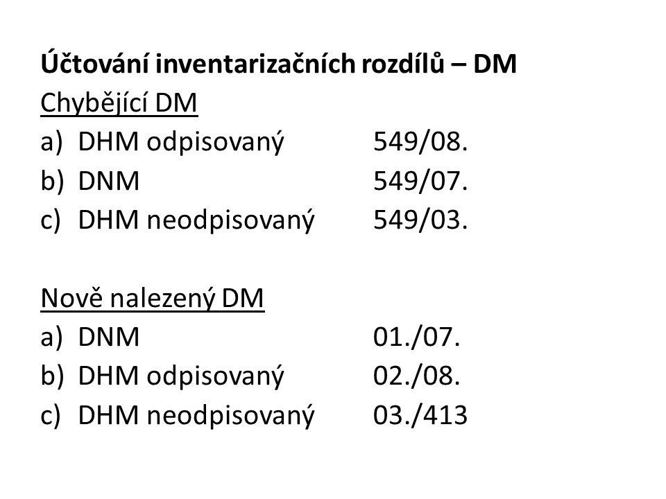 Účtování inventarizačních rozdílů – DM Chybějící DM a)DHM odpisovaný549/08.