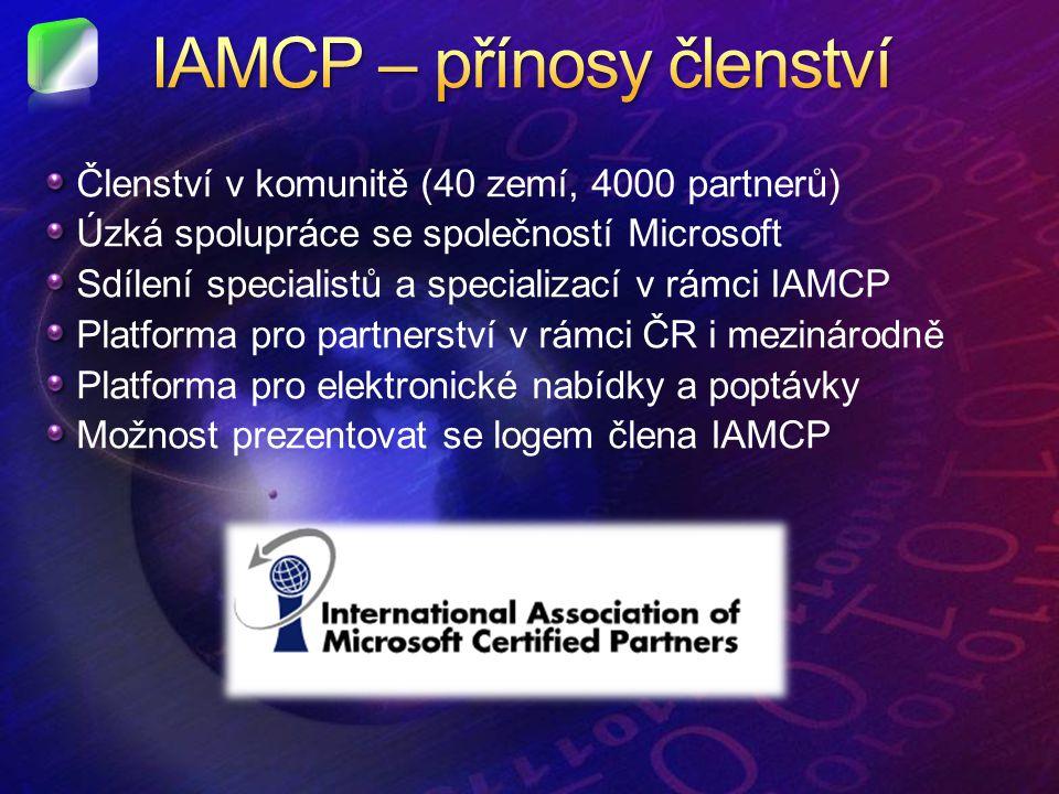 Členství v komunitě (40 zemí, 4000 partnerů) Úzká spolupráce se společností Microsoft Sdílení specialistů a specializací v rámci IAMCP Platforma pro partnerství v rámci ČR i mezinárodně Platforma pro elektronické nabídky a poptávky Možnost prezentovat se logem člena IAMCP