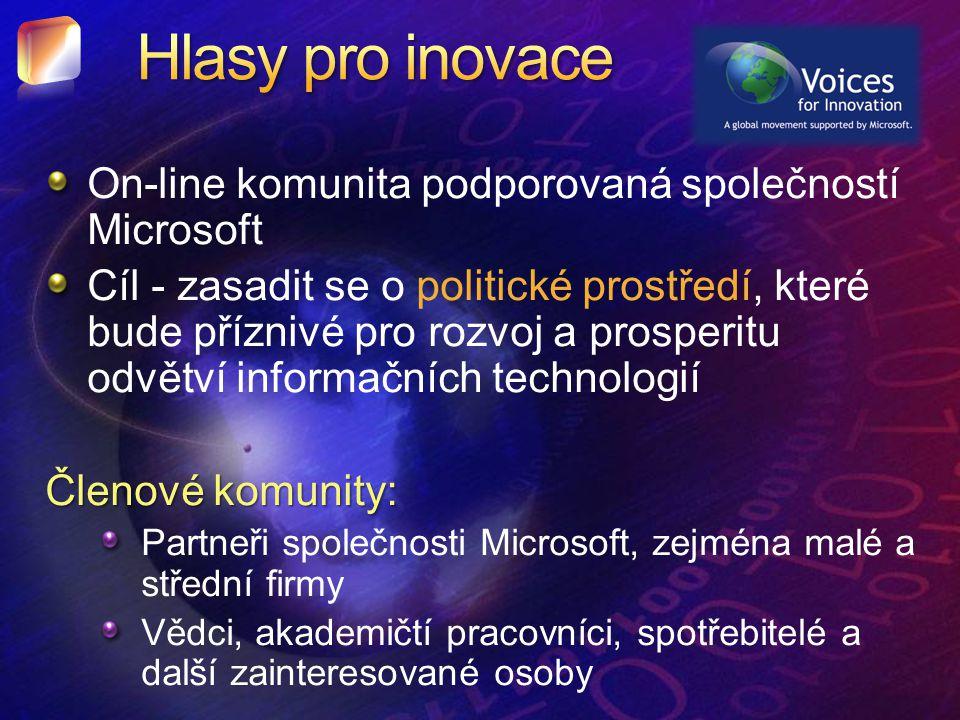 On-line komunita podporovaná společností Microsoft Cíl - zasadit se o politické prostředí, které bude příznivé pro rozvoj a prosperitu odvětví informačních technologií Členové komunity: Partneři společnosti Microsoft, zejména malé a střední firmy Vědci, akademičtí pracovníci, spotřebitelé a další zainteresované osoby