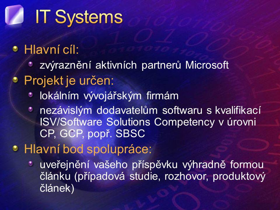 Hlavní cíl: zvýraznění aktivních partnerů Microsoft Projekt je určen: lokálním vývojářským firmám nezávislým dodavatelům softwaru s kvalifikací ISV/Software Solutions Competency v úrovni CP, GCP, popř.