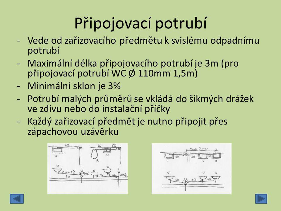 Připojovací potrubí ‐Vede od zařizovacího předmětu k svislému odpadnímu potrubí ‐Maximální délka připojovacího potrubí je 3m (pro připojovací potrubí