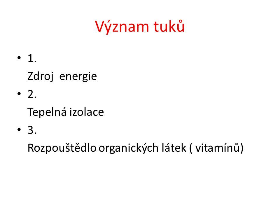 Význam tuků 1. Zdroj energie 2. Tepelná izolace 3. Rozpouštědlo organických látek ( vitamínů)