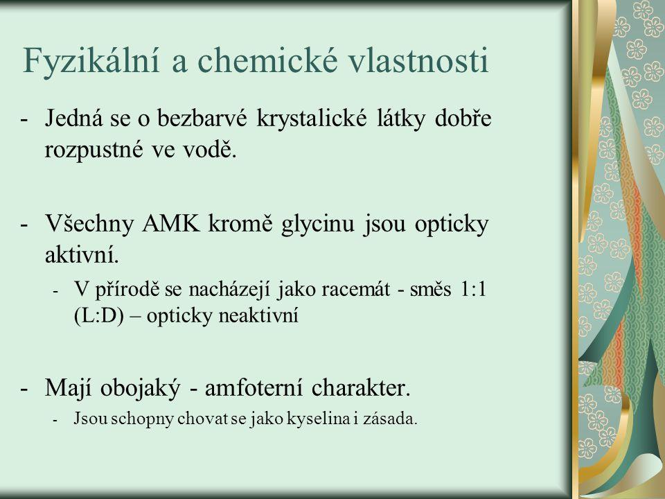 Fyzikální a chemické vlastnosti -Jedná se o bezbarvé krystalické látky dobře rozpustné ve vodě. -Všechny AMK kromě glycinu jsou opticky aktivní. - V p