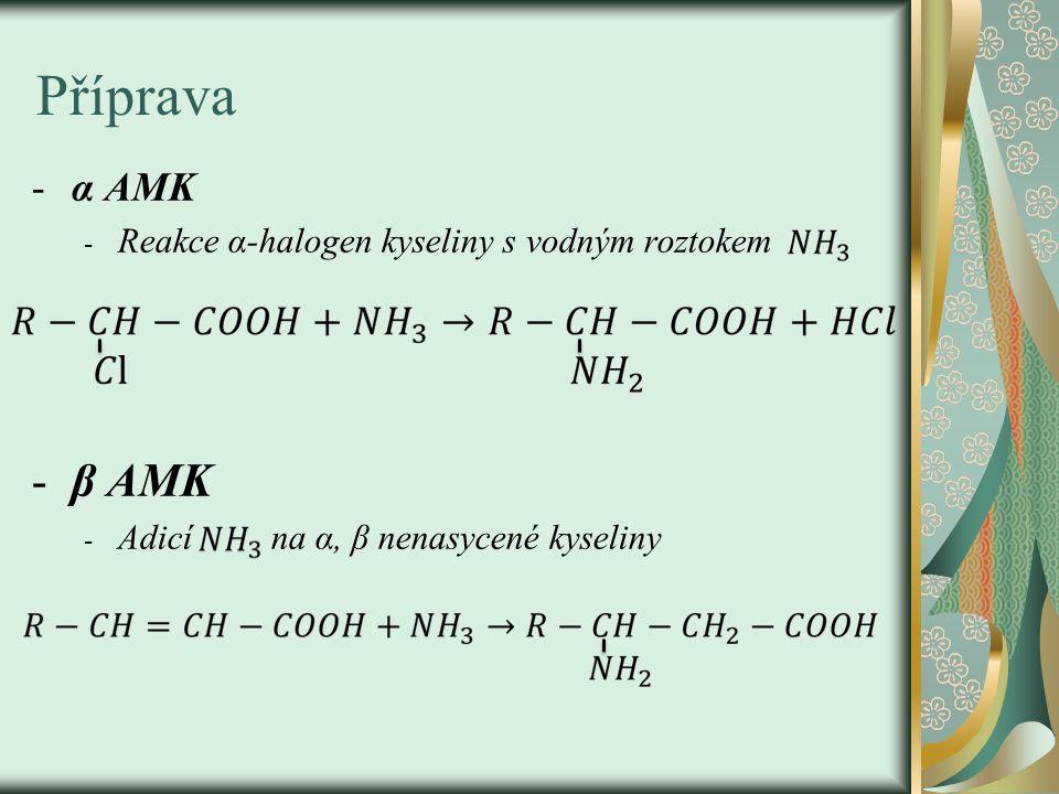 Příprava -α AMK - Reakce α-halogen kyseliny s vodným roztokem -β AMK - Adicí na α, β nenasycené kyseliny