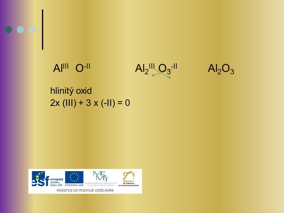 Al III O -II Al 2 III O 3 -II Al 2 O 3 hlinitý oxid 2x (III) + 3 x (-II) = 0