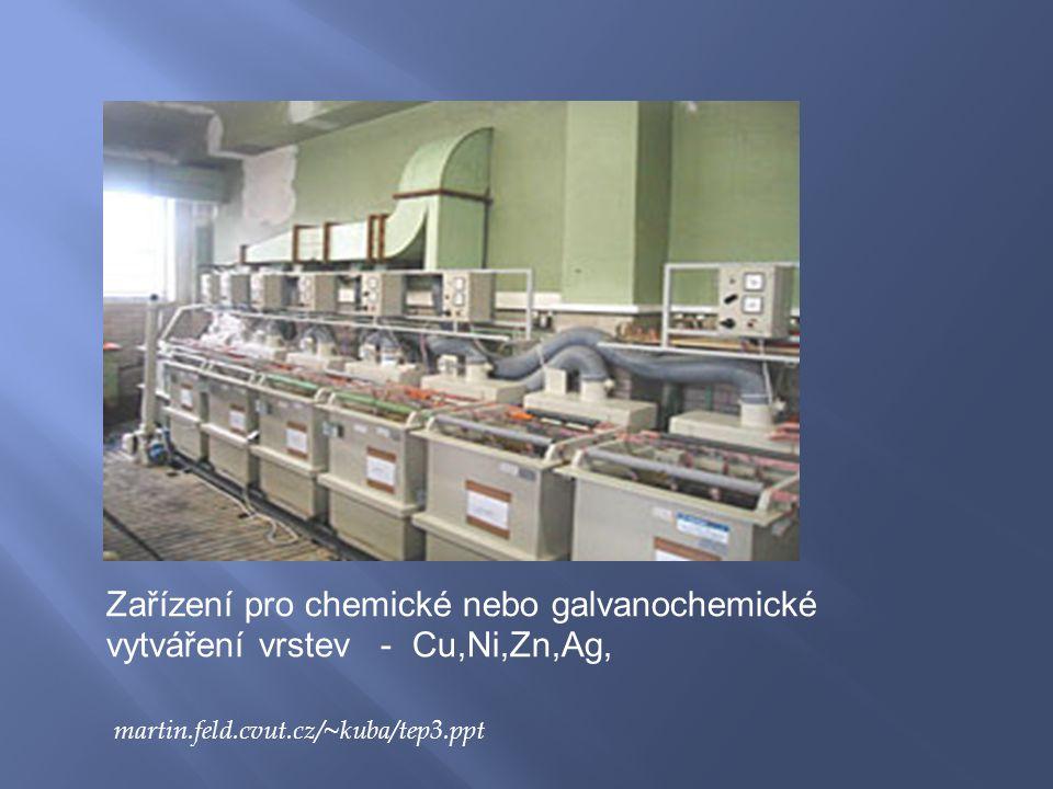Zařízení pro chemické nebo galvanochemické vytváření vrstev - Cu,Ni,Zn,Ag, martin.feld.cvut.cz/~kuba/tep3.ppt