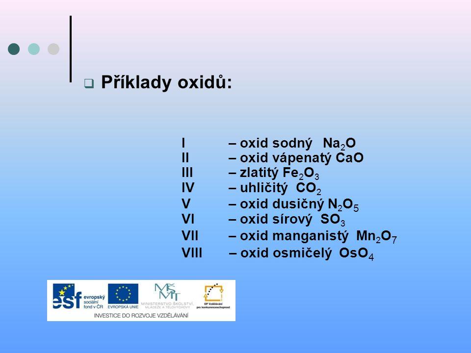  Příklady oxidů: I – oxid sodnýNa 2 O II – oxid vápenatý CaO III – zlatitý Fe 2 O 3 IV– uhličitý CO 2 V – oxid dusičný N 2 O 5 VI– oxid sírový SO 3 V