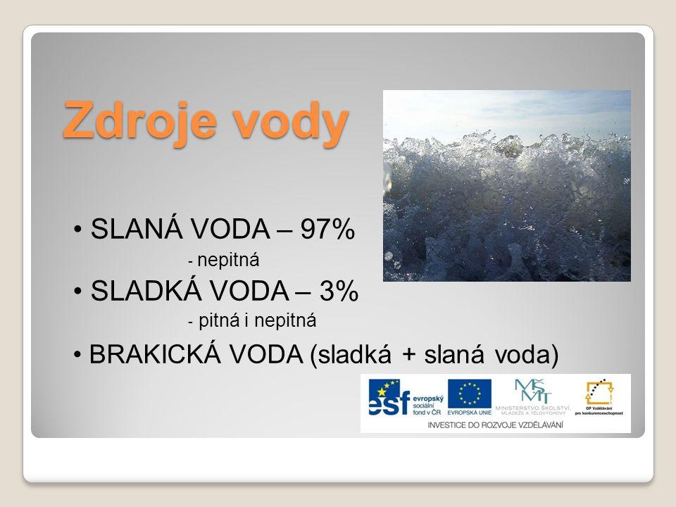 Zdroje vody SLANÁ VODA – 97% - nepitná SLADKÁ VODA – 3% - pitná i nepitná BRAKICKÁ VODA (sladká + slaná voda)