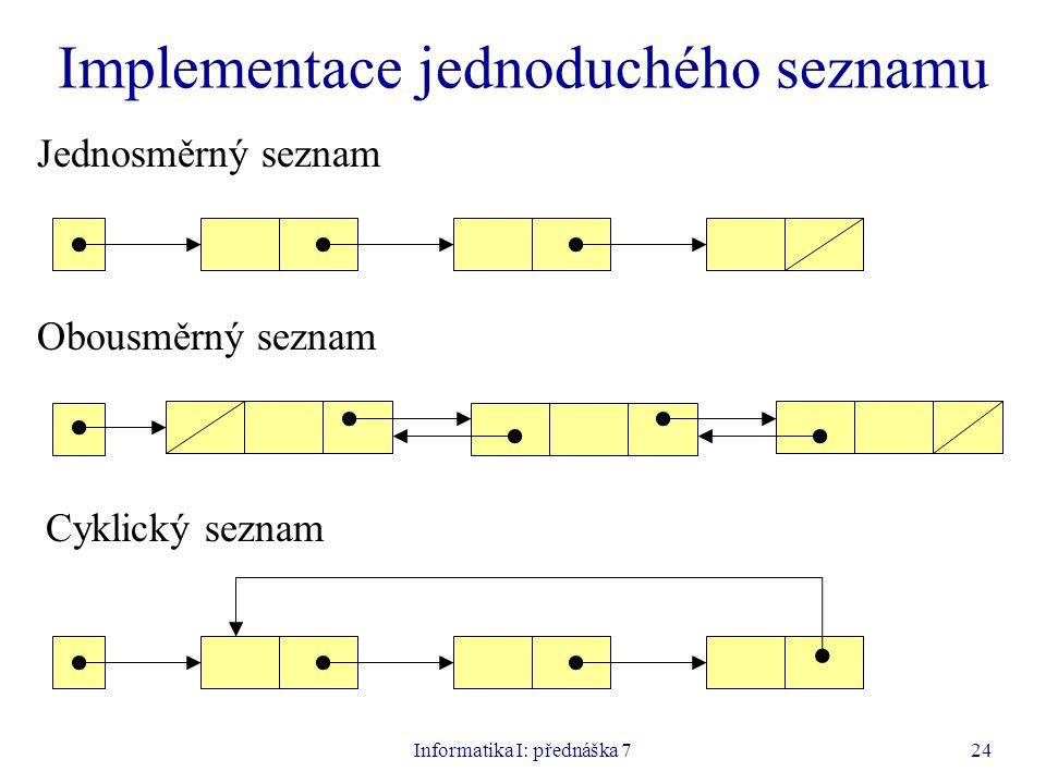 Informatika I: přednáška 724 Implementace jednoduchého seznamu Jednosměrný seznam Obousměrný seznam Cyklický seznam