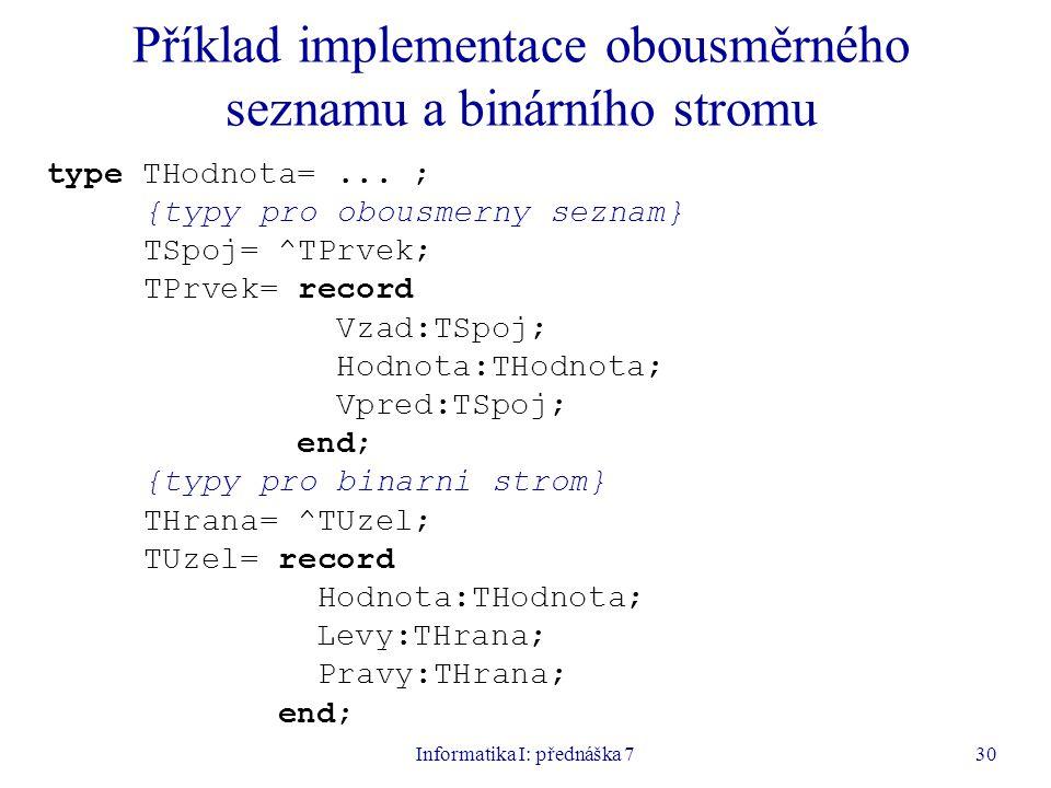 Informatika I: přednáška 730 Příklad implementace obousměrného seznamu a binárního stromu type THodnota=...